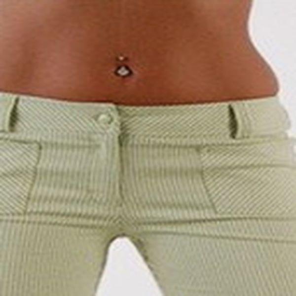 Módní dámské kalhoty, zelený proužek