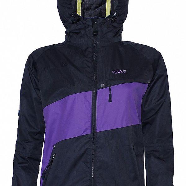 Dámská streetová jarní bunda značky Humdrum v černofialové barevné kombinaci