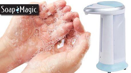 Bezdotykový dávkovač mydla - Soap Magic , Praktický dávkovač mydla po zaznamenaní pohybu spustí dávkovací mechanizmus, ktorý zaručí hygienické a bezdotykové umytie rúk