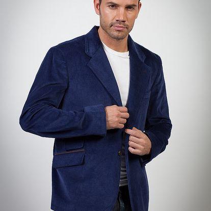 Pánské tmavě modré manšestrové sako Spagnolo