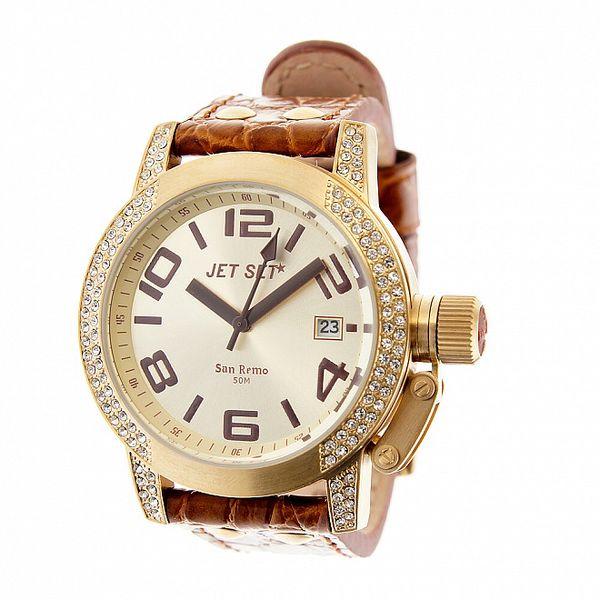Dámské zlaté hodinky Jet Set s hnědým koženým řemínkem a kamínky
