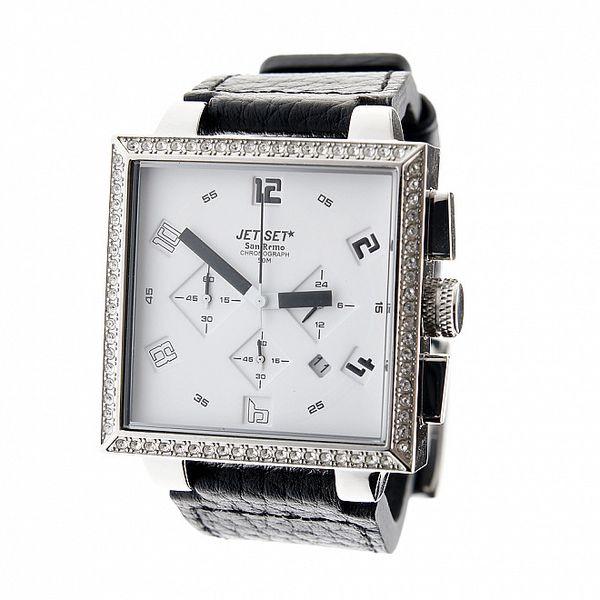 Dámské ocelové náramkové hodinky Jet Set s černým koženým řemínkem a bílým ciferníkem