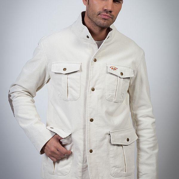 Pánská bílá manšestrová bunda Spagnolo