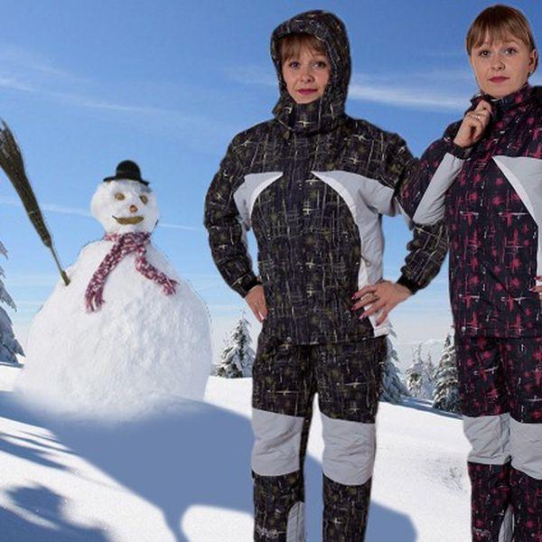 Dětský lyžařský komplet – bunda a kalhoty v černo-olivové a černo-červené barvě.