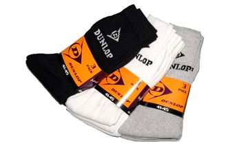 TŘI páry kvalitních značkových ponožek Dunlop v univerzální velikosti.