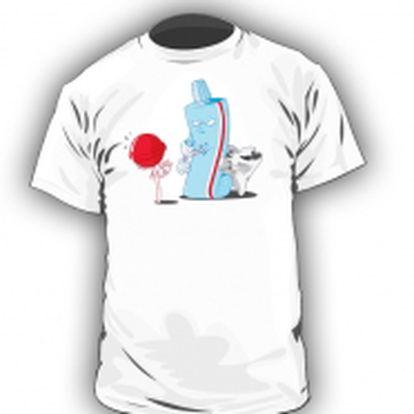 Originální tričko Tooth Protection. Vtipný potisk s ustrašeným zubem, lízátkem a pastou v roli ochránce.