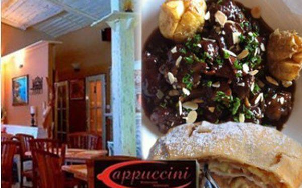 129 Kč za 3 chodové menu pro 1 osobu - Vývar se zeleninou, Benátská játra na červeném víně se slaninkou a pečené baby brambůrky a domácí jablečný závin se šlehačkou a vanilkovým krémem v Pizzeria Cappuccini
