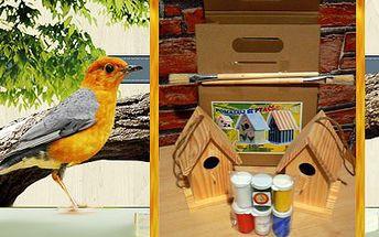 Pomalujte si ptačí budku! Sada obsahuje 2 budky, štětce, barvy i lak!