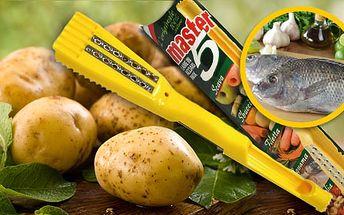 Viac pomocníkov v jednom praktickom nástroji vám ponúka univerzálna škrabka MASTER 5 len za 1,99€, s ktorou zvládnete čistenie a lúpanie zeleniny, krájanie i zdobenie!