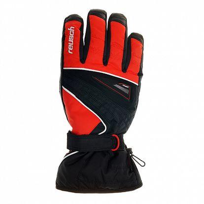 Pánské černo-červené lyžařské rukavice Reusch s membránou
