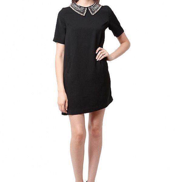 Dámské černé šaty Miss June s korálkovým límcem