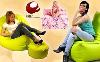 Kvalitný sedací vak, detská fotelka alebo detská rozkladacia postieľka zn. RIZAR - relax na každý deň.