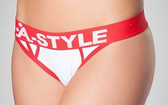 Dámská bílá tanga A-Style s červenými švy