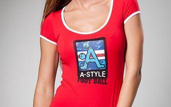 Dámské červené tričko A-Style s potiskem