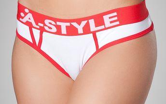 Dámské bílé kalhotky A-Style s červenými detaily