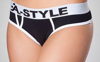Dámské černé kalhotky A-Style s bílými detaily