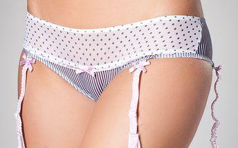 Dámské bílé kalhotky A-Style s podvazky