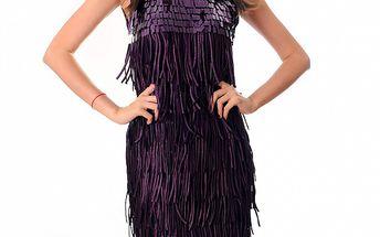 Dámské purpurové šaty Ribelli s třásněmi
