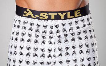 Pánské bílé boxerky A-Style s lebkami