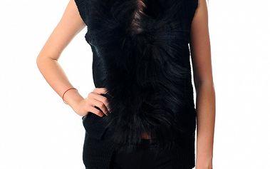 Dámská krátká černá vesta Ribelli s kožešinou