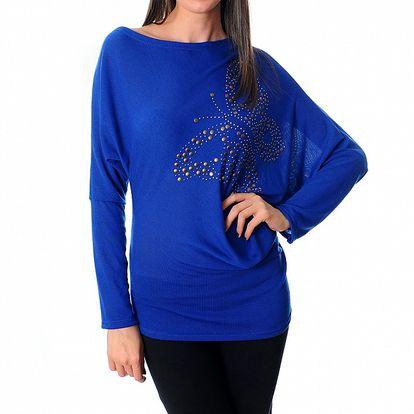 Dámský zářivě modrý top Ribelli s motýlem