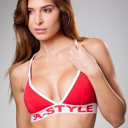 Dámská červená sportovní podprsenka A-Style s bílým lemem