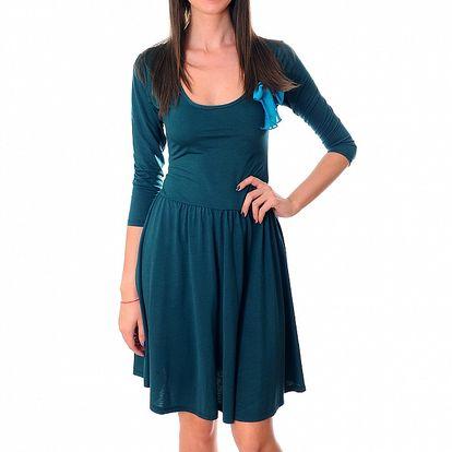 Dámské modrozelené šaty Ribelli s mašlí