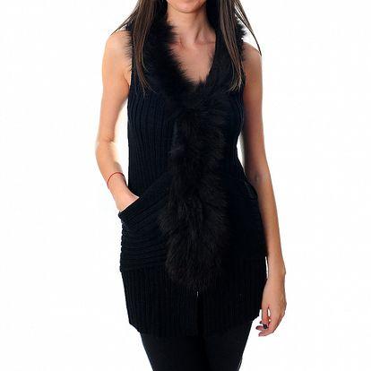 Dámská dlouhá černá vesta Ribelli s kožešinou