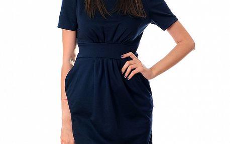 Dámské tmavě modré šaty Ribelli se zlatým řetězem