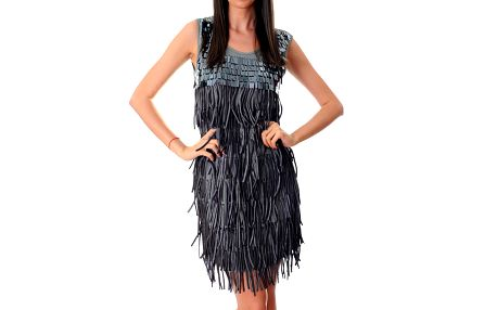 Dámské šedostříbrné šaty Ribelli s třásněmi