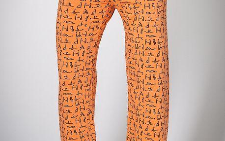 Pánské oranžové domácí kalhoty A-Style s potiskem