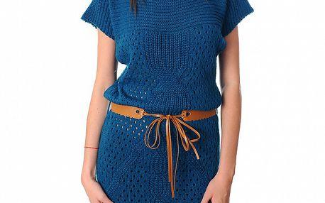 Dámské modré pletené šaty Ribelli