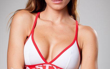 Dámská bílá sportovní podprsenka A-Style s červeným lemem