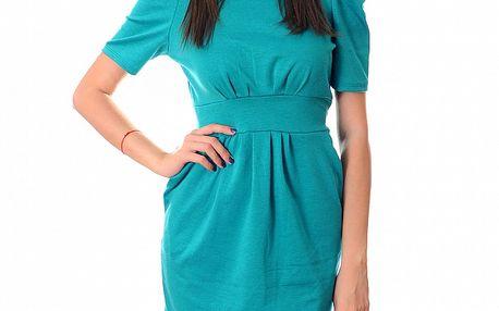 Dámské azurově modré šaty Ribelli se zlatým řetězem