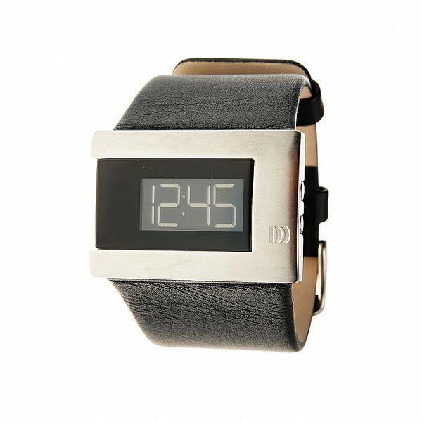 Dámské černo-stříbrné digitální náramkové hodinky Danish Design s černým koženým řemínkem