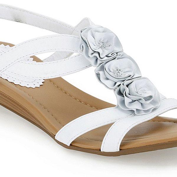 Dámské bílé sandále s růžičkami