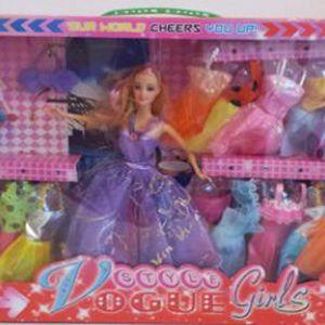 """Panenka """"Vogue style Girls"""" s doplňky a oblečením.Nejlepší dárek za nízkou cenu 299 Kč pro Vaše dítě .Sada:panenka,šaty 22 kusu + malá panenka s houpacím koníkem."""