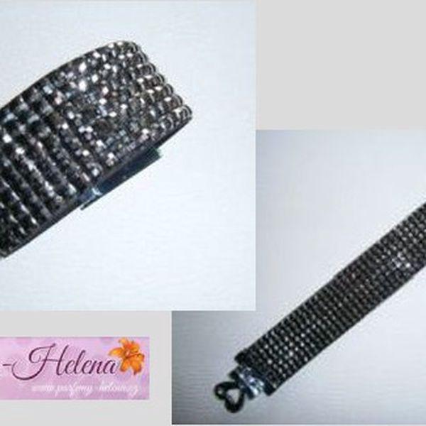 Luxusní náramek s černými nebo stříbrnými kamínky.