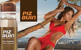Kvalitné samoopaľovacie mlieko Piz Buin Coloud Dial s možnosťou regulácie odtieňa opálenia + balzam na pery Piz Buin s vitamínom E a vanilkovou príchuťou len za 16,50€.