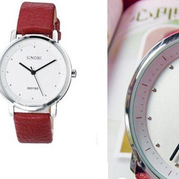 Luxusní dámské hodinky SINOBI s červeným koženým řemínkem a s ciferníkem z nerezové oceli pro každou příležitost!