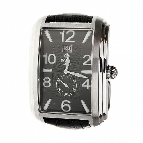 Pánské stříbrné hodinky Royal London s černým koženým řemínkem