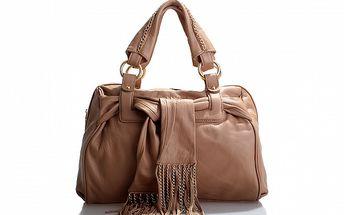Dámská světle hnědá kožená kabelka Belle & Bloom se zlatými řetízky a šálou