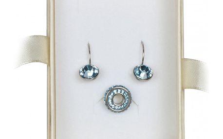 Luxusní Souprava šperků Tribal s naušnicemi a přívěskem lesknoucí se krásnou modří.