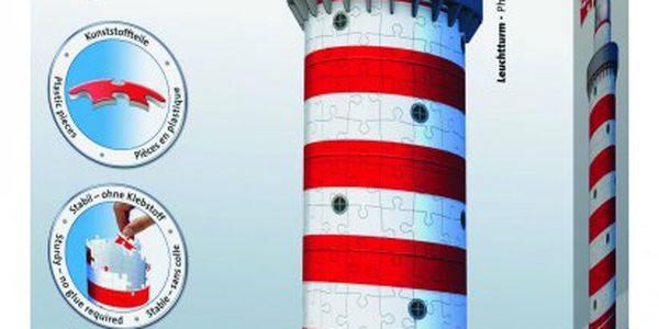 3D puzzle Ravensburger s motivem červeno bílého majáku. 216 dílků!