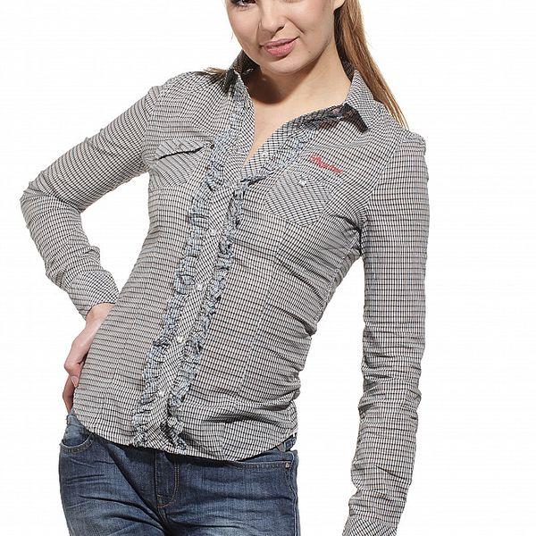 Dámská černo-bílá kostičkovaná košile Replay s modrými detaily
