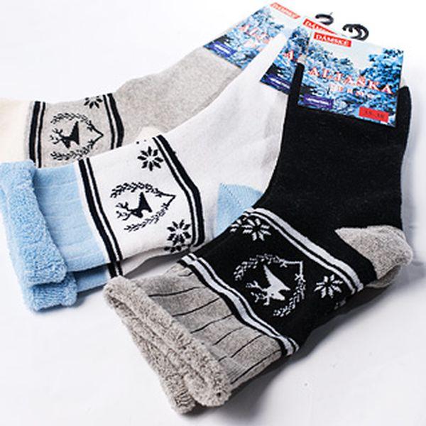3 páry dámských termo ponožek – bavlna s přídavkem elastanu, béžová, černá a modrobílá barva, poštovné za 40 Kč
