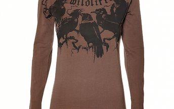 Dámské tmavě hnědé tričko Sherpa s černým potiskem