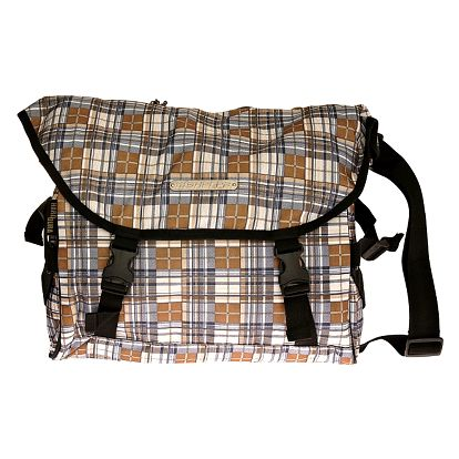 Hnědošedá kostkovaná taška přes rameno Sherpa