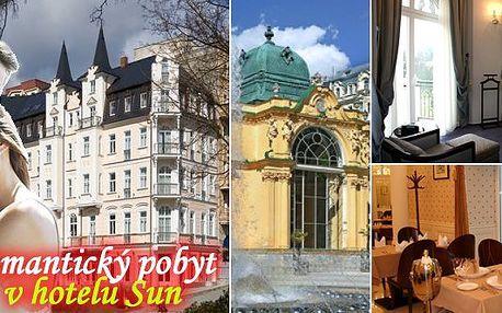 LAST MINUTE - přepychové ubytování v luxusu, snídaně i večeře formou švédských stolů, procedury! Wellnes pobyt v překrásném luxusním hotelu Sun****+ v samém srdci Mariánských Lázní, přímo na lázeňské kolonádě uspokojí i nejnáročnějšího hosta! Přijeďte si odpočinout! Sleva 50%!!!