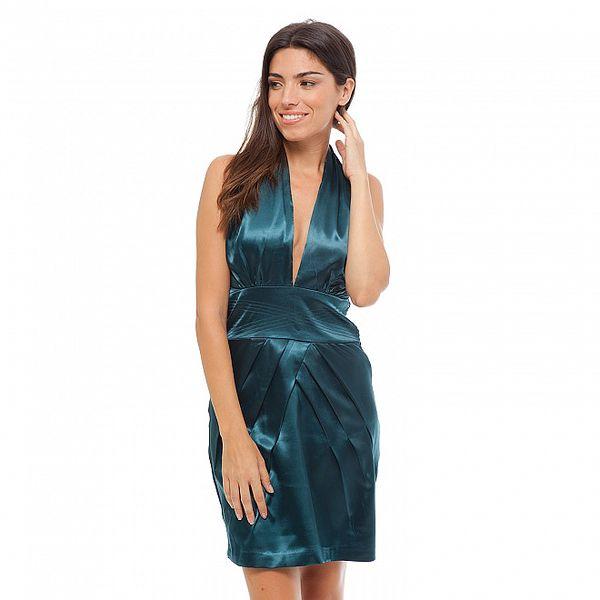 Dámské tyrkysové saténové šaty Strena